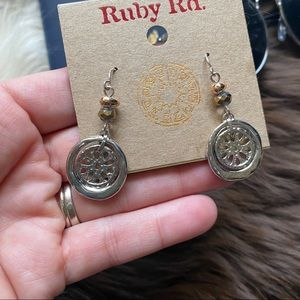 RUBY RD Mixed Metal Sand Dollar Dangle Earings